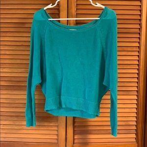 American Eagle Green Long Sleeve Crop Sweater S
